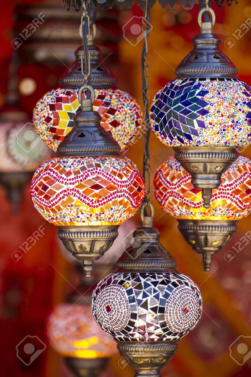 Decorative, Oriental style lamps craft in a bazaar Stock Photo - 28430326