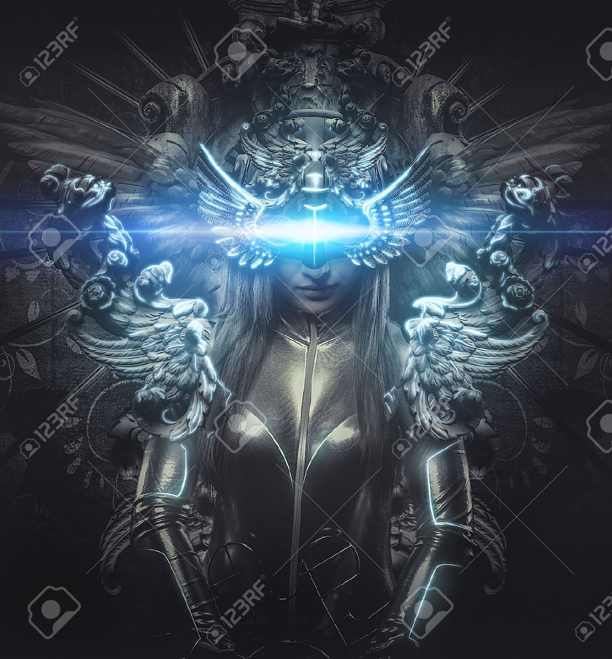 deity, dressed in silver princess, fantasy concept, blonde woman dressed in armor Stock Photo - 29076659