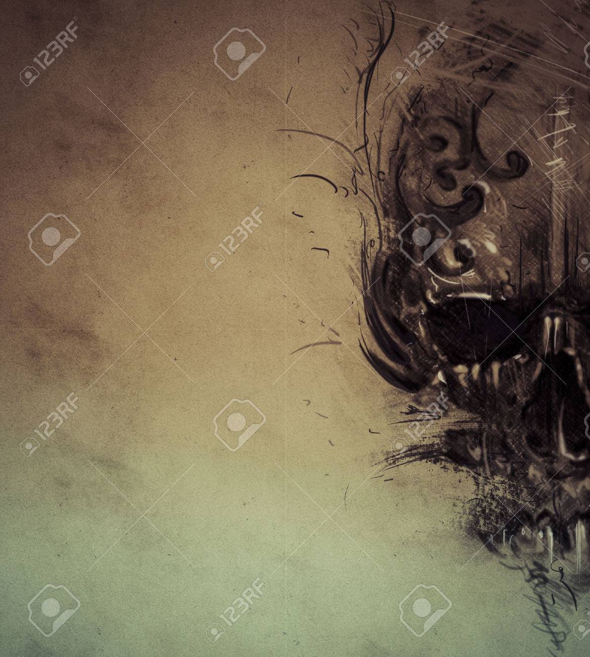 Tattoo skull over vintage paper, design handmade - 32340770
