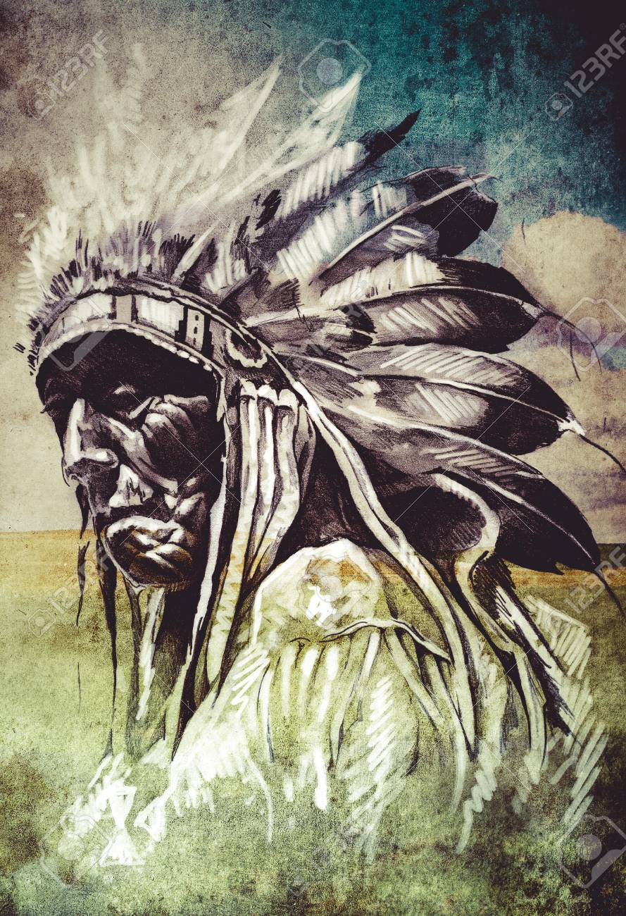 Sketch Of Tattoo Art Indian Head Over Artistic Background Stock