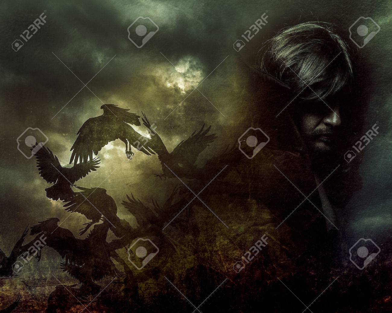 Paranormal, man with long hair and black coat Stock Photo - 33606906