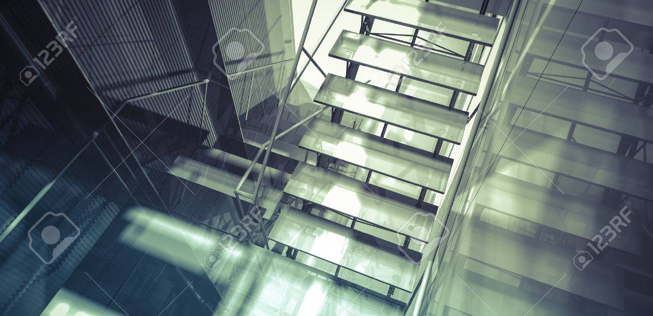 Room. Modern office interior, stairs, clean space in business building - 35461688