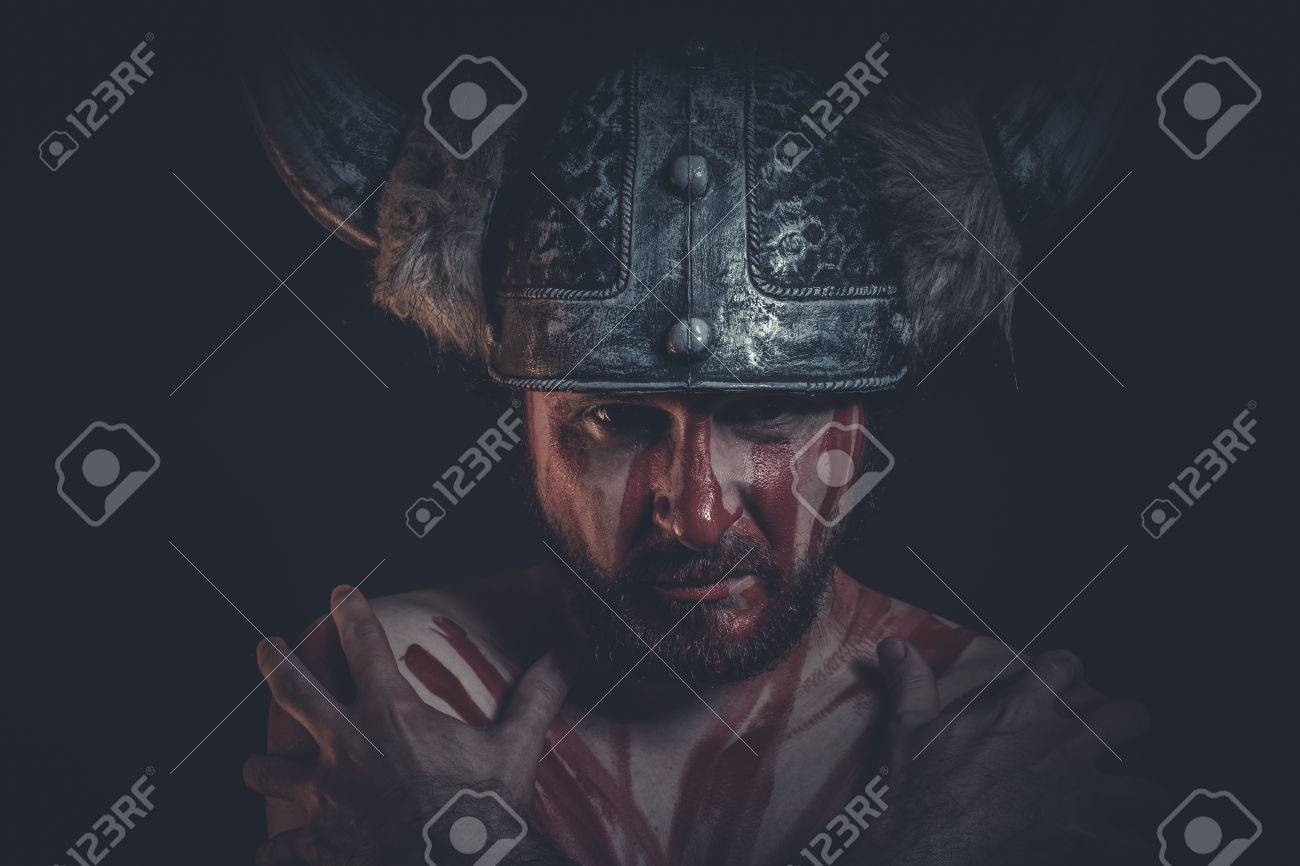 Viking Warrior With A Horned Helmet And War Paint On His Face Stock Photo Picture And Royalty Free Image Image 41621348