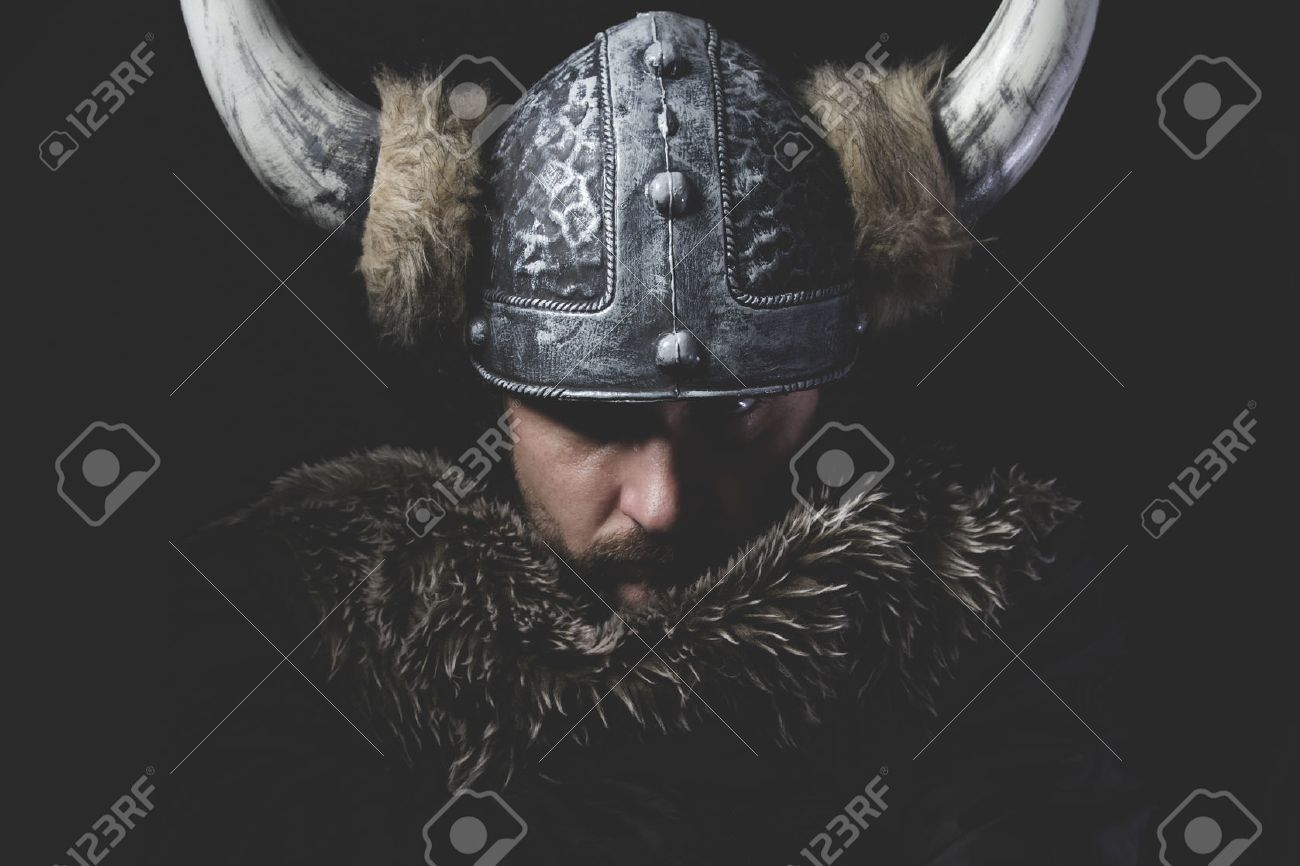 Danger, Viking warrior with iron sword and helmet with horns - 48819109