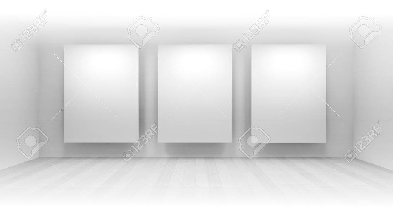 3 Clean Art Gallery Space With Blank Frames On The Wall, Clean ...