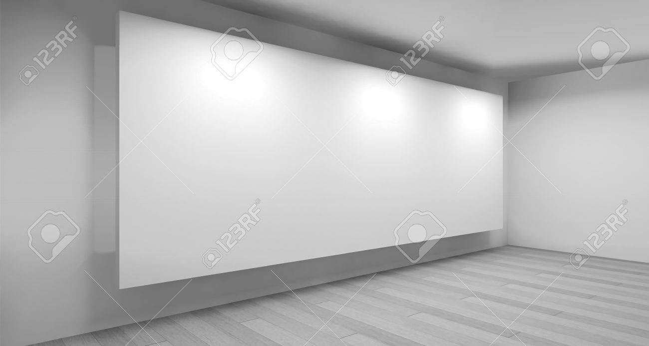 Museum, Clean Art Gallery Space With Blank Frames On The Wall ...