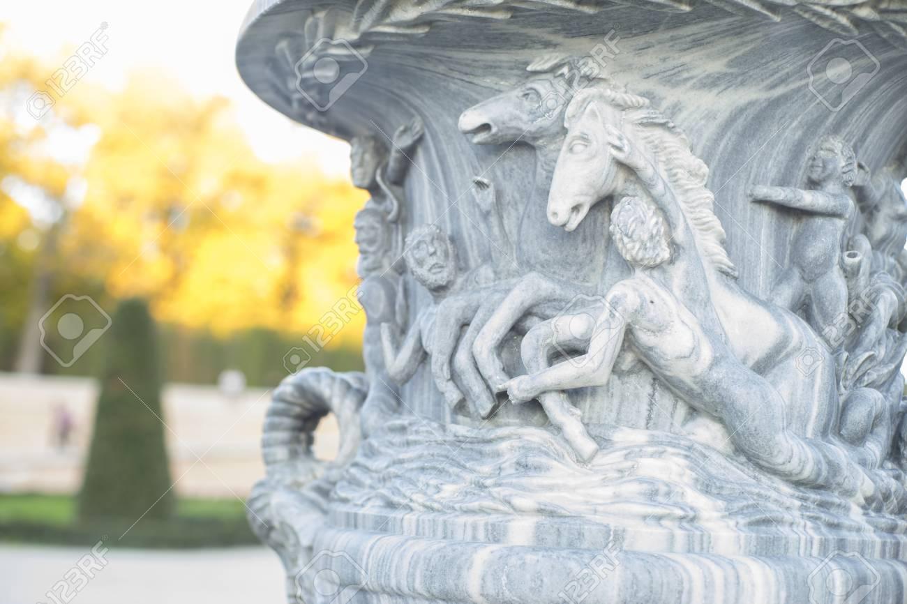 Stone Vase Decorative, Stone Sculpture At The Jardin Del Retiro ...