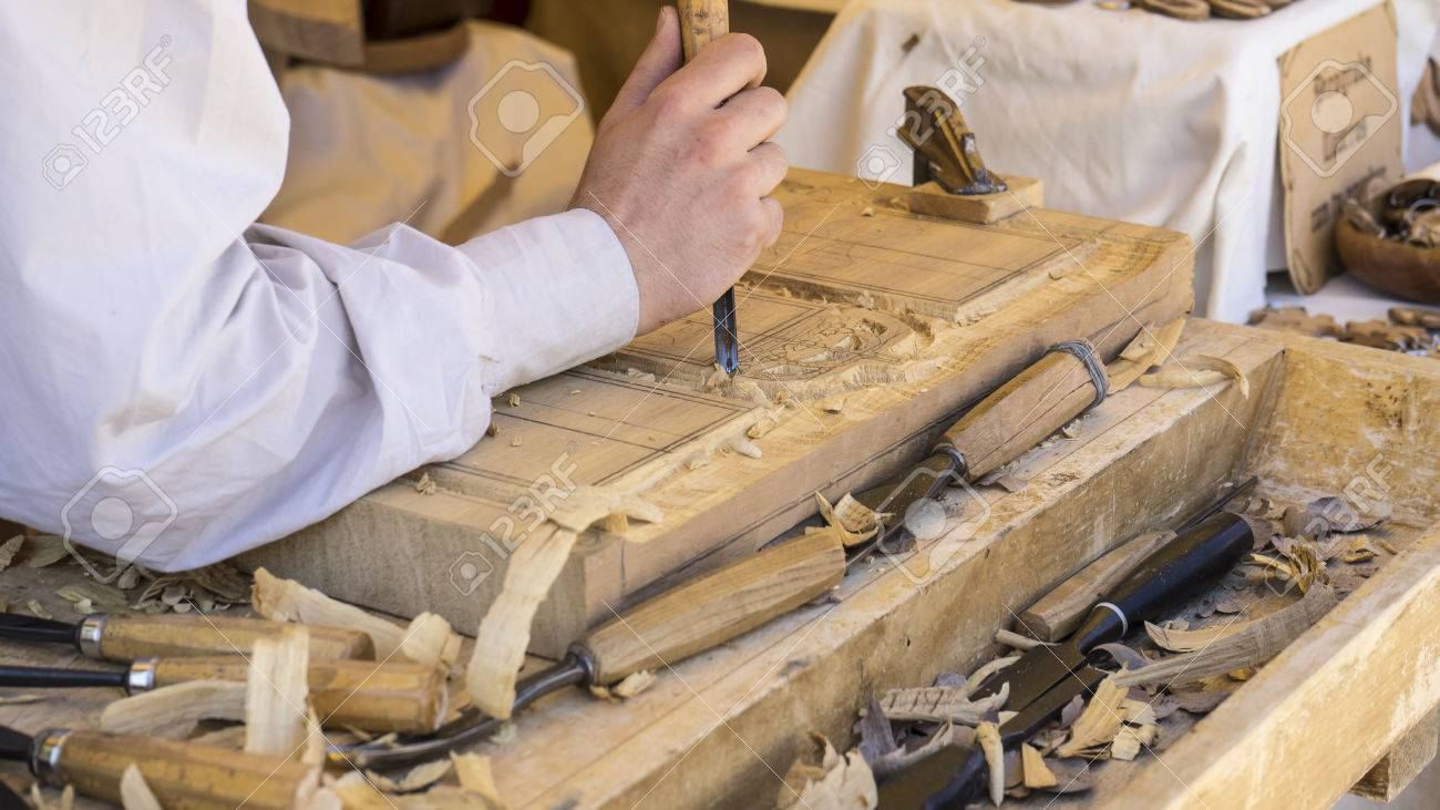 Furniture, Craftsman Carving Wood In A Medieval Fair, Carpentry Tools Stock  Photo   64962252