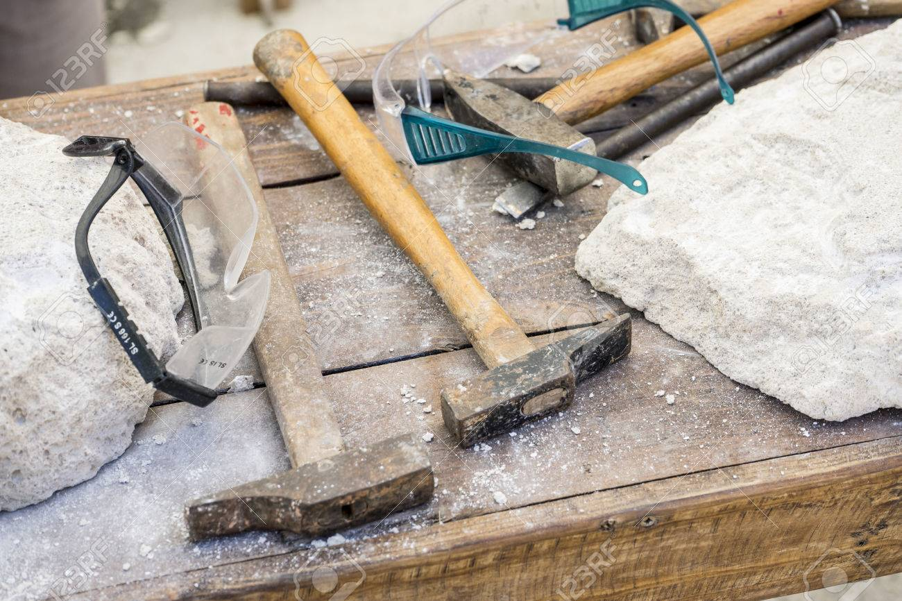 Traditional tools sculptor, wood, hammers and chisels for working