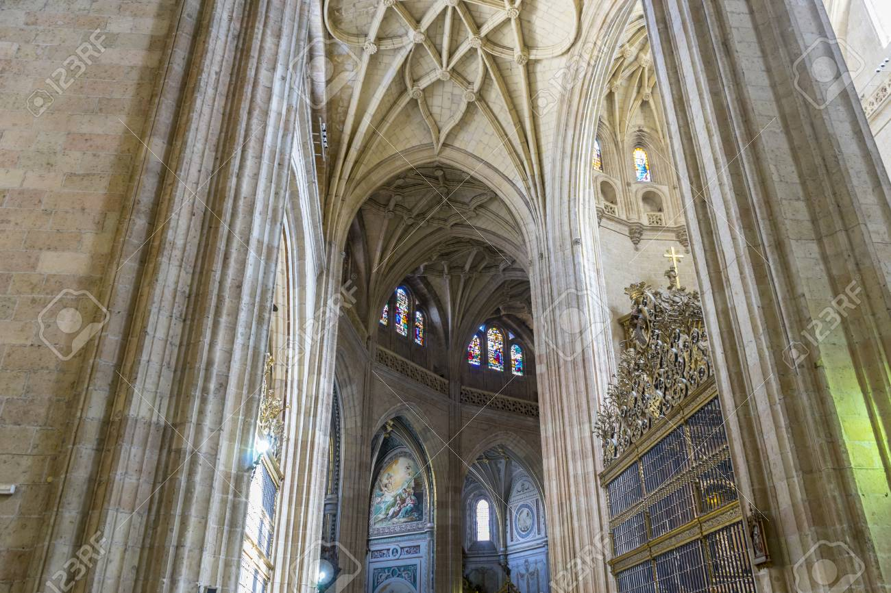 Gothic Arches Of Christian Church Interior City Segovia Famous For Its Roman Aqueduct