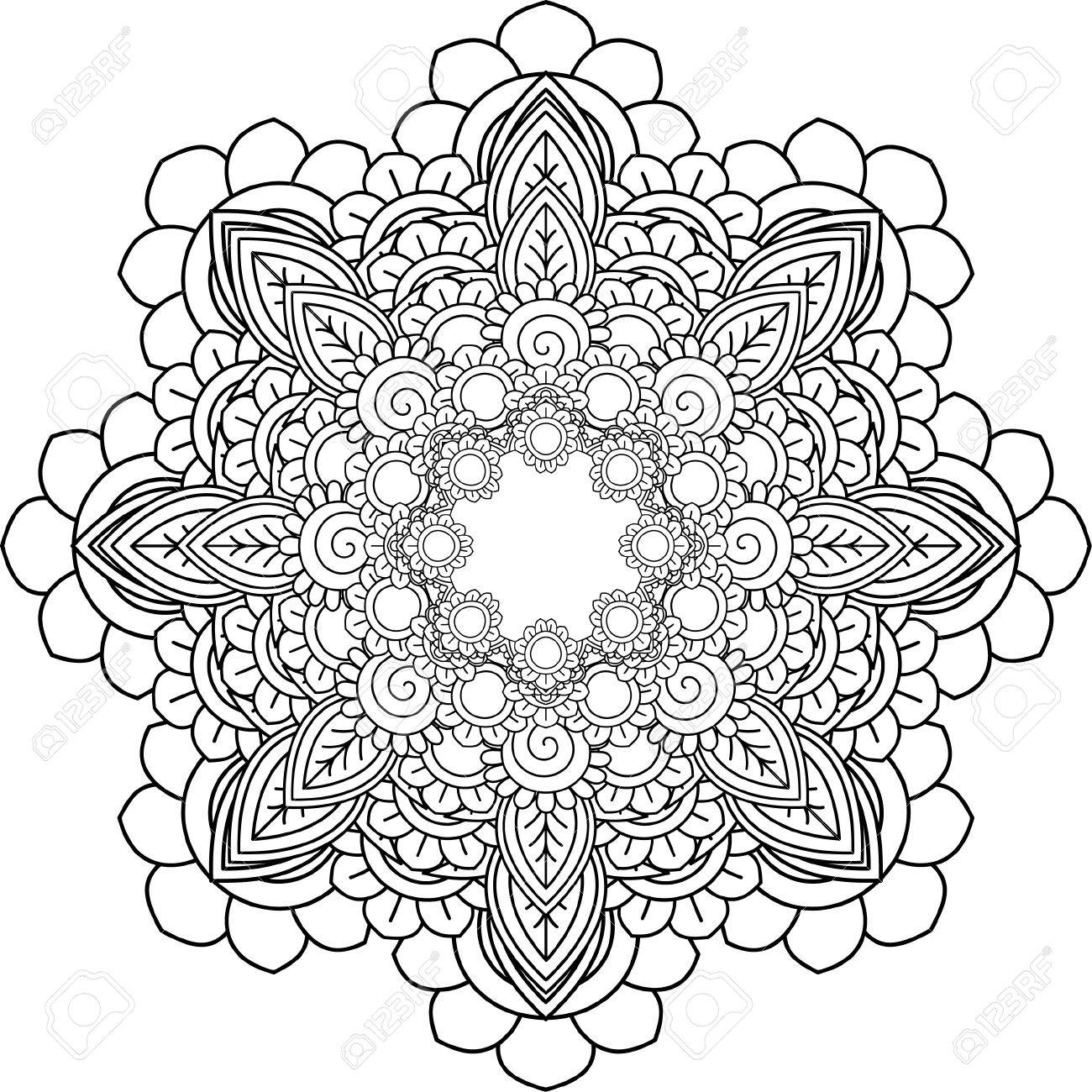 Meditation Mandalas, Drawing With Coloring Lines, On White ...