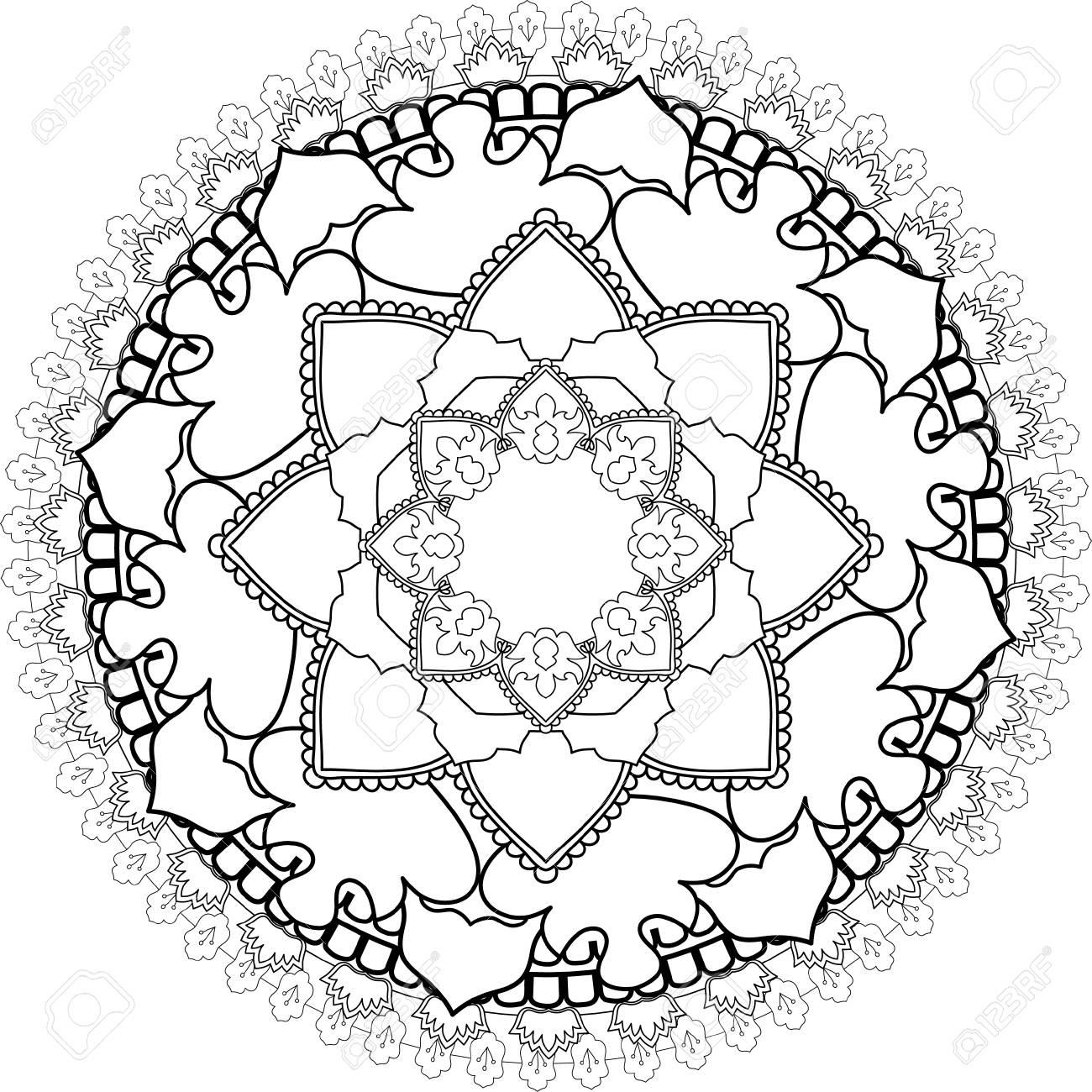 Relájese Mandalas Dibujo Con Líneas Para Colorear Sobre Fondo Blanco Formas Y Geometrías De Flores Como Patrones Y Papel Tapiz