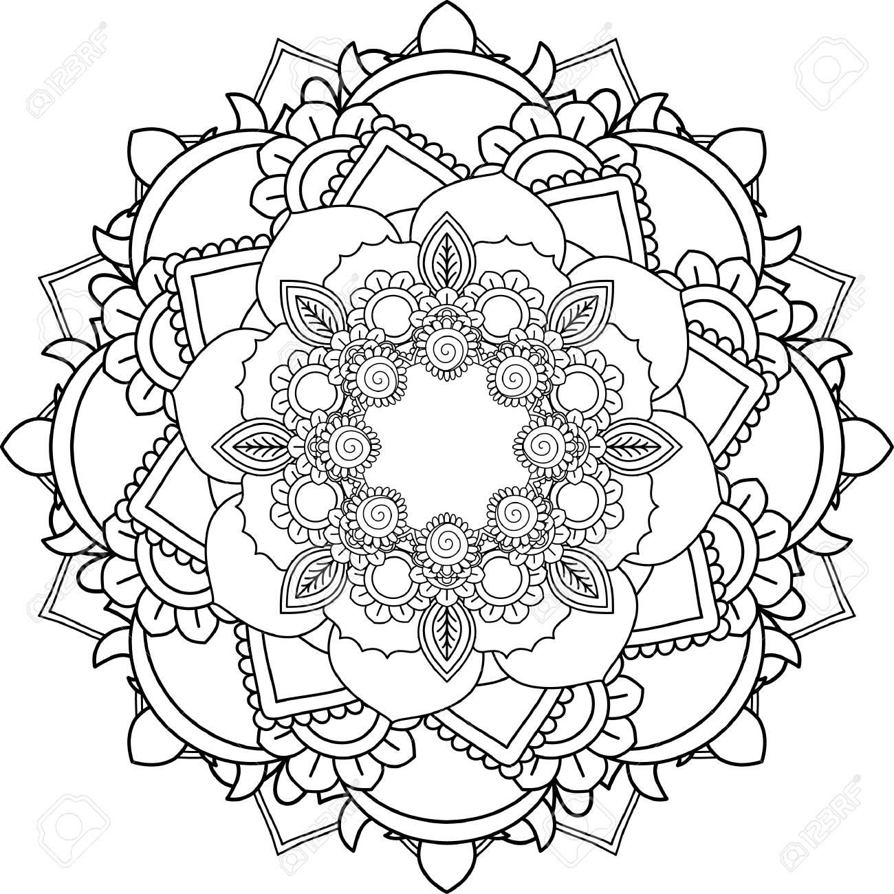 Mandalas Dibujo Con Líneas Para Colorear Sobre Fondo Blanco Formas Y Geometrías De Flores Como Patrones Y Papel Tapiz