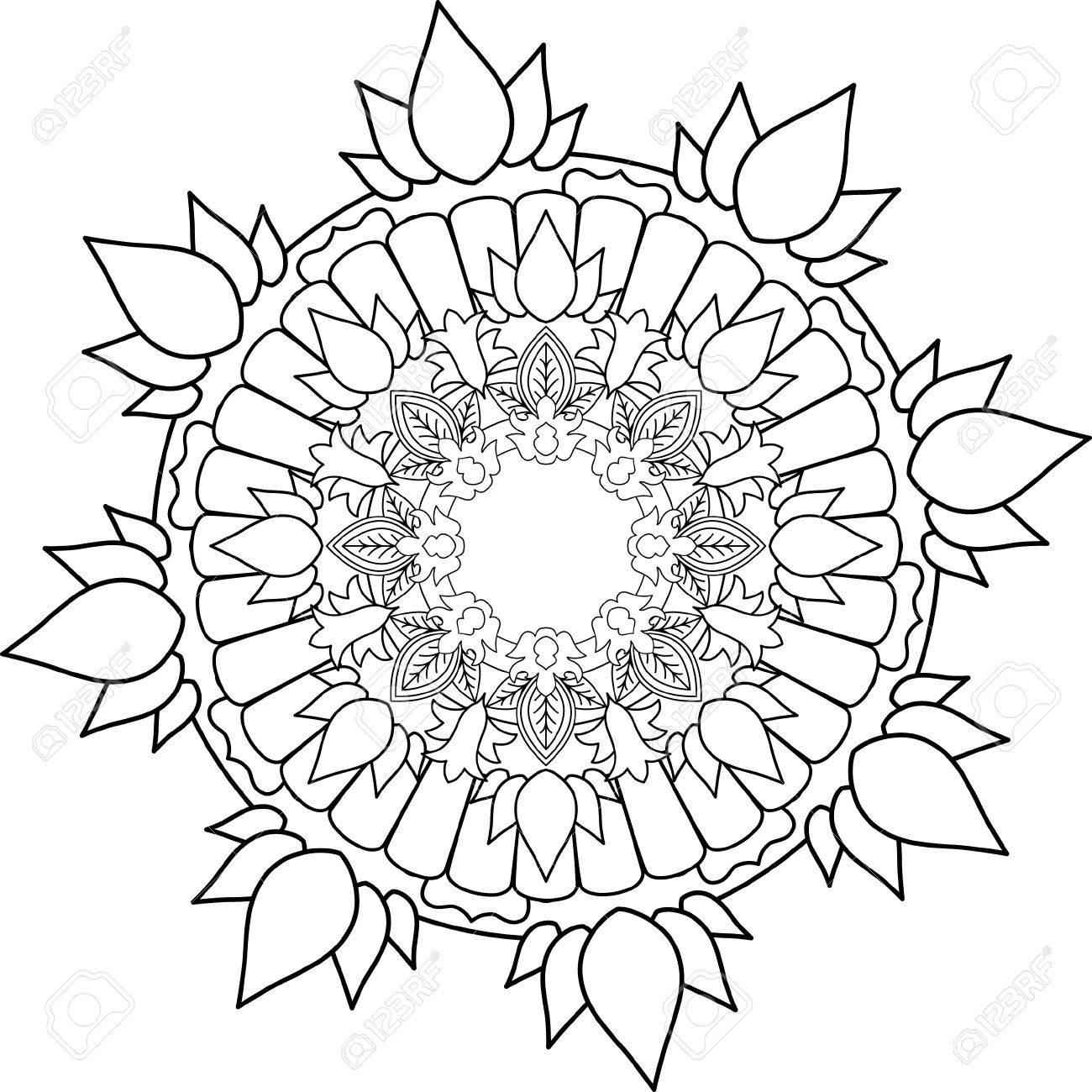Adorno Mandala Dibujo Con Líneas Para Colorear Sobre Fondo Blanco Formas Y Geometrías De Flores Como Patrones Y Papel Tapiz