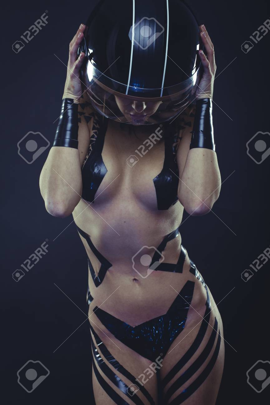 Girl with motorcycle helmet naked