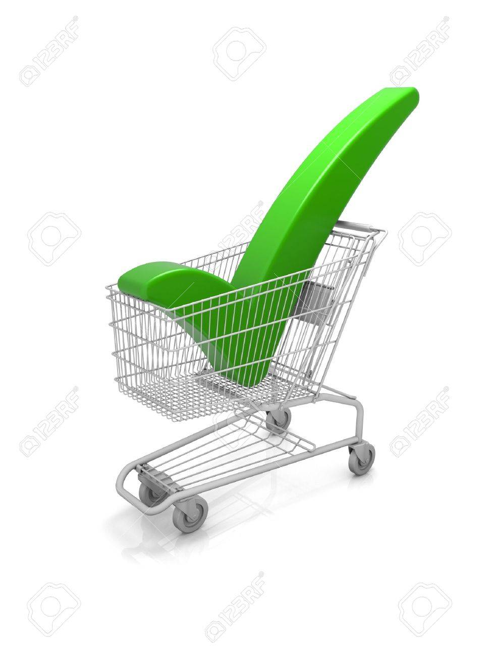 Shopping cart with a green check mark. Part of a series. Stock Photo - 6180719