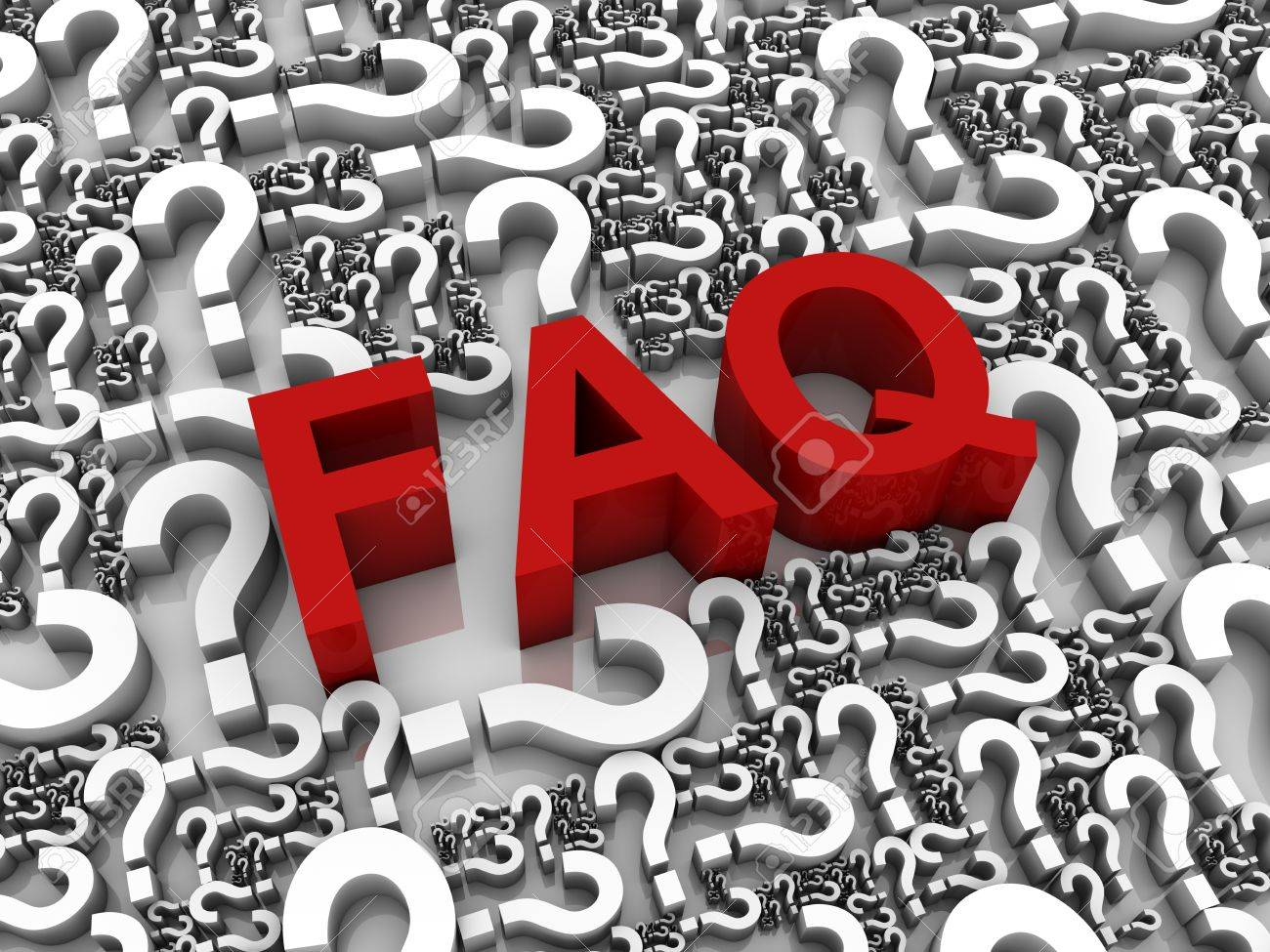 FAQ 3D text surrounded by question marks. Part of a series. Stock Photo - 9262501