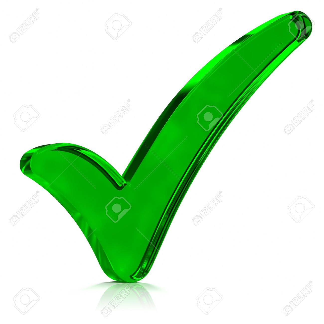 Green Glass Check Mark Symbol Part Of A Series Stock Photo