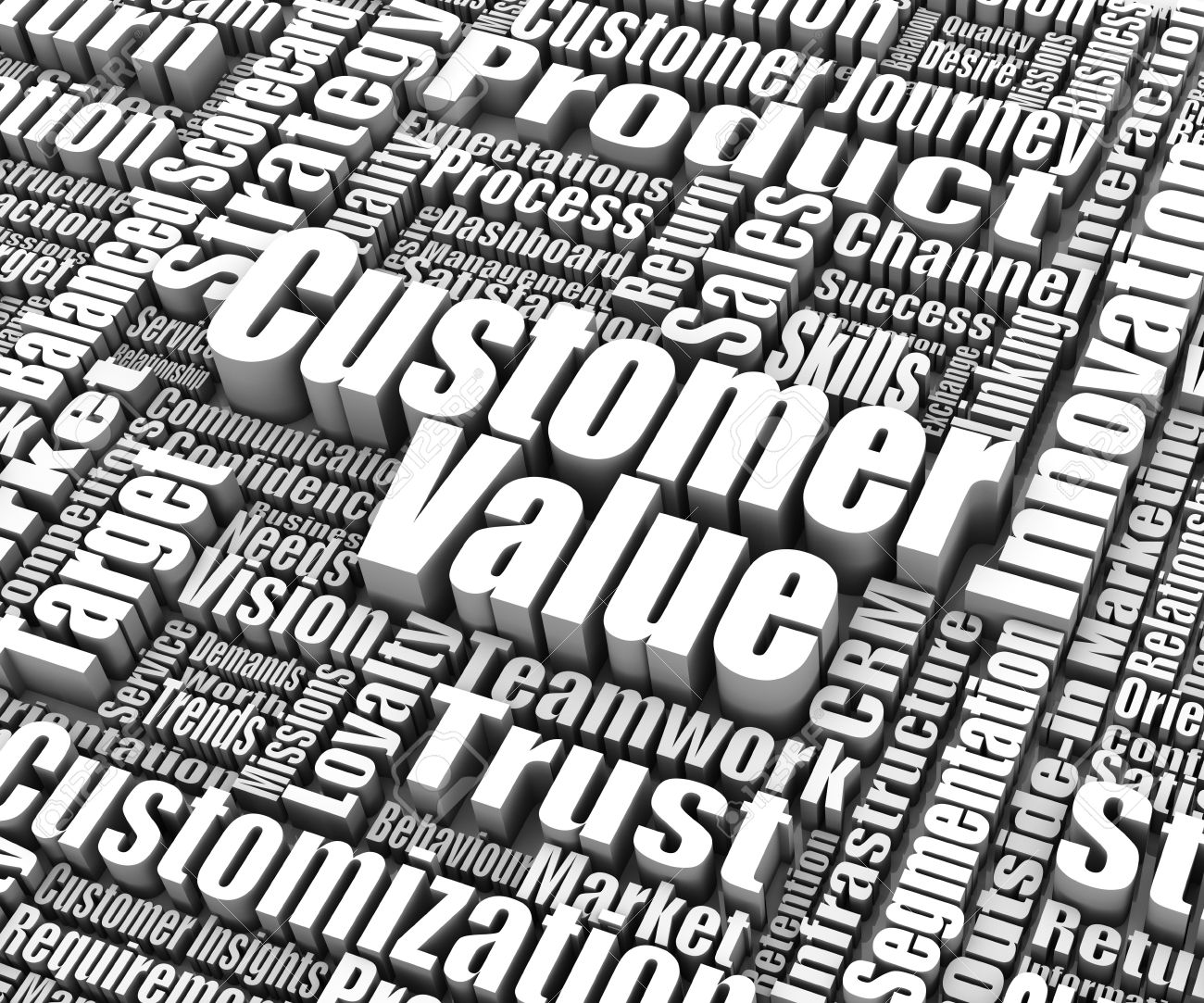 Group of customer value related words. Part of a business concept series. Stock Photo - 13886327