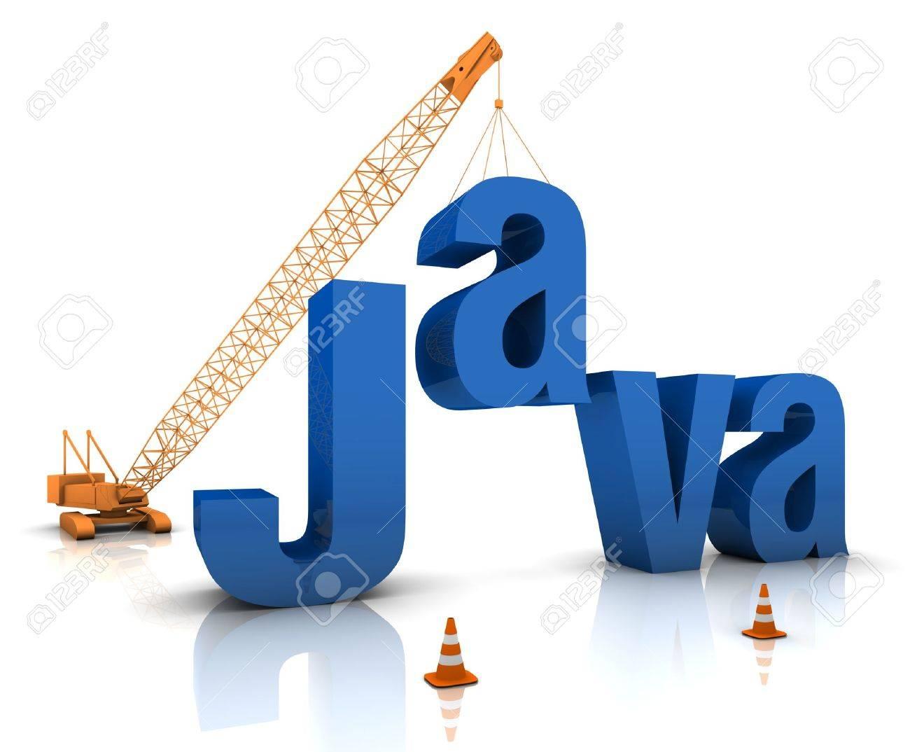 Construction site crane building a blue Java 3D text. Part of a series. Stock Photo - 15384948