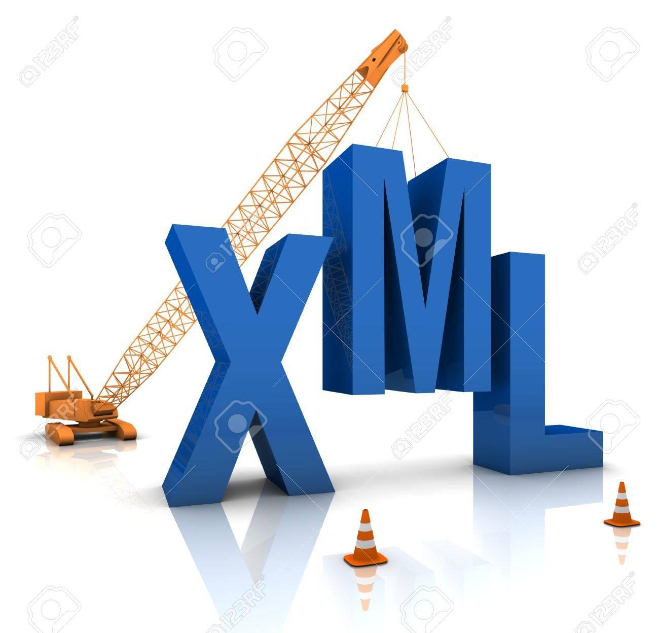Construction site crane building a blue XML 3D text. Part of a series. Stock Photo - 15384950