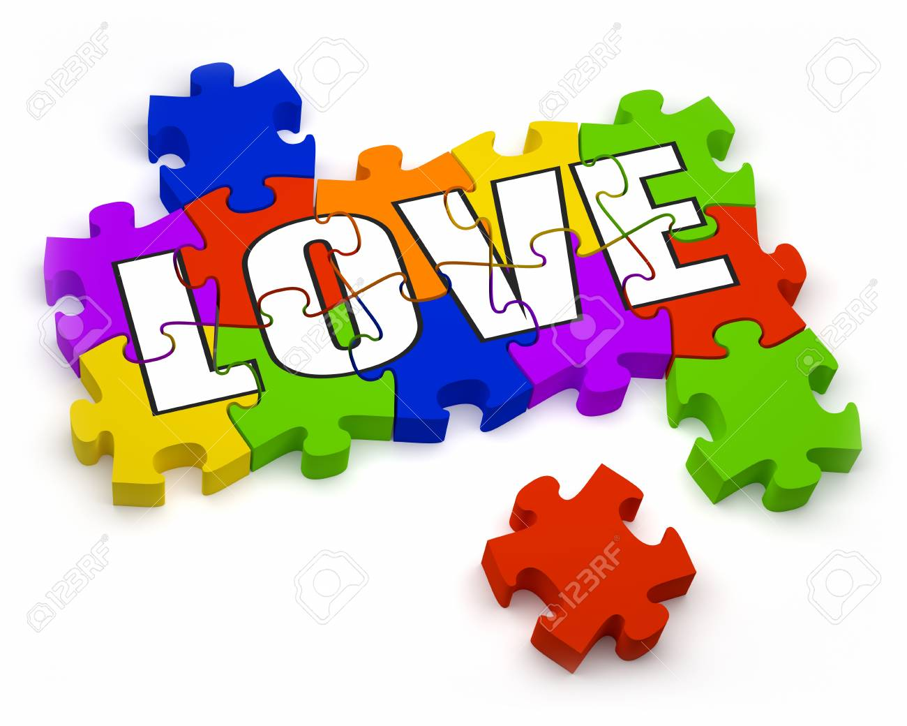 3D jigsaw pieces with text  Part of a series Stock Photo - 15873903
