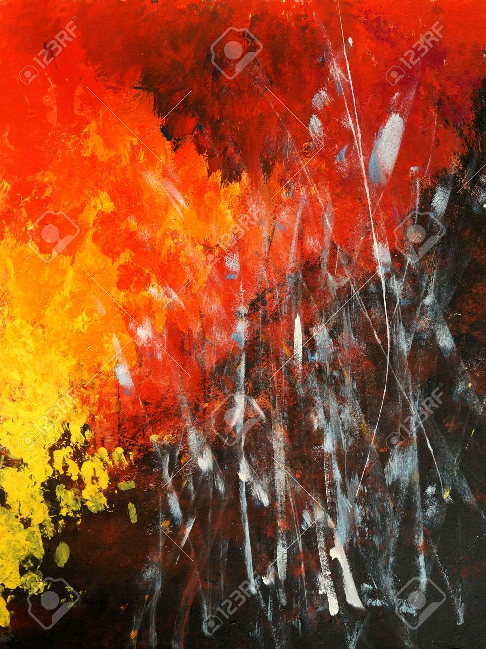Modern painting  Abstract Art  Expressive composition of fire and dark Banque d'images - 30828319