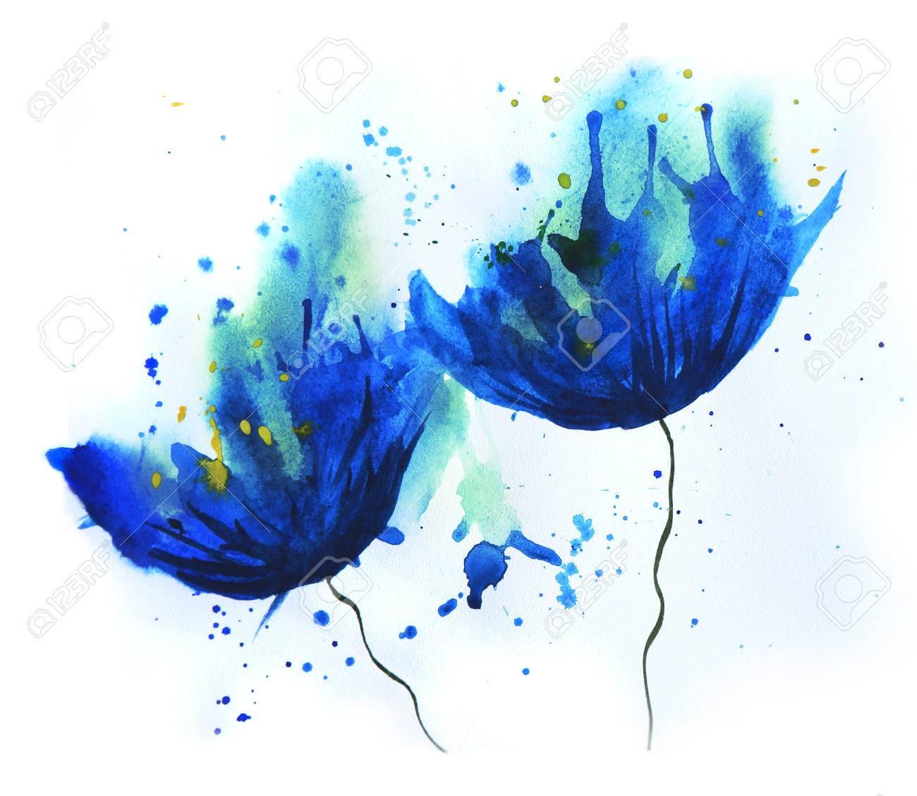 Image Aquarelle aquarelle de bleuet fleurs bleues. humeur d'été de dessin facile