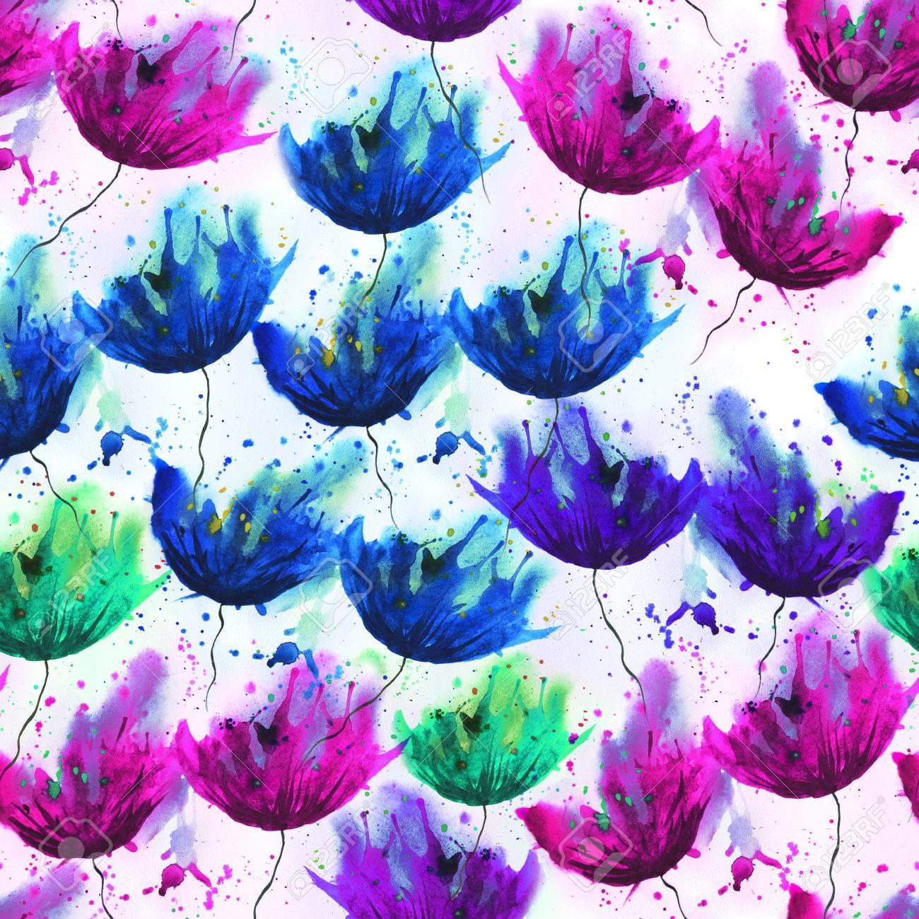 Aquarelle Pattern De Fleurs Differentes Humeur D Ete De Dessin