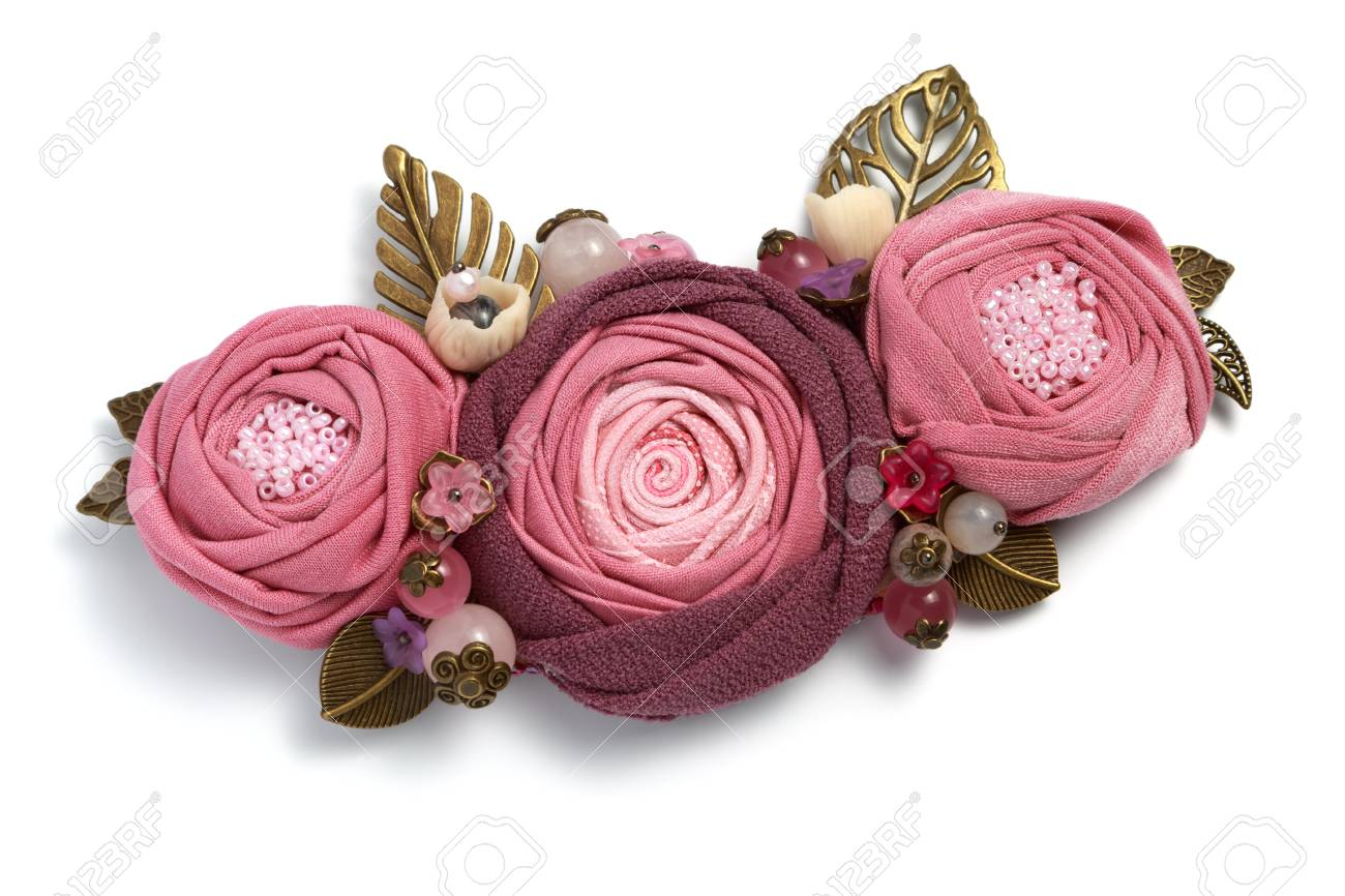 Handmade Brooch In The Form Of Three Pink Fabric Flowers On A Stock Photo Picture And Royalty Free Image Image 86232011