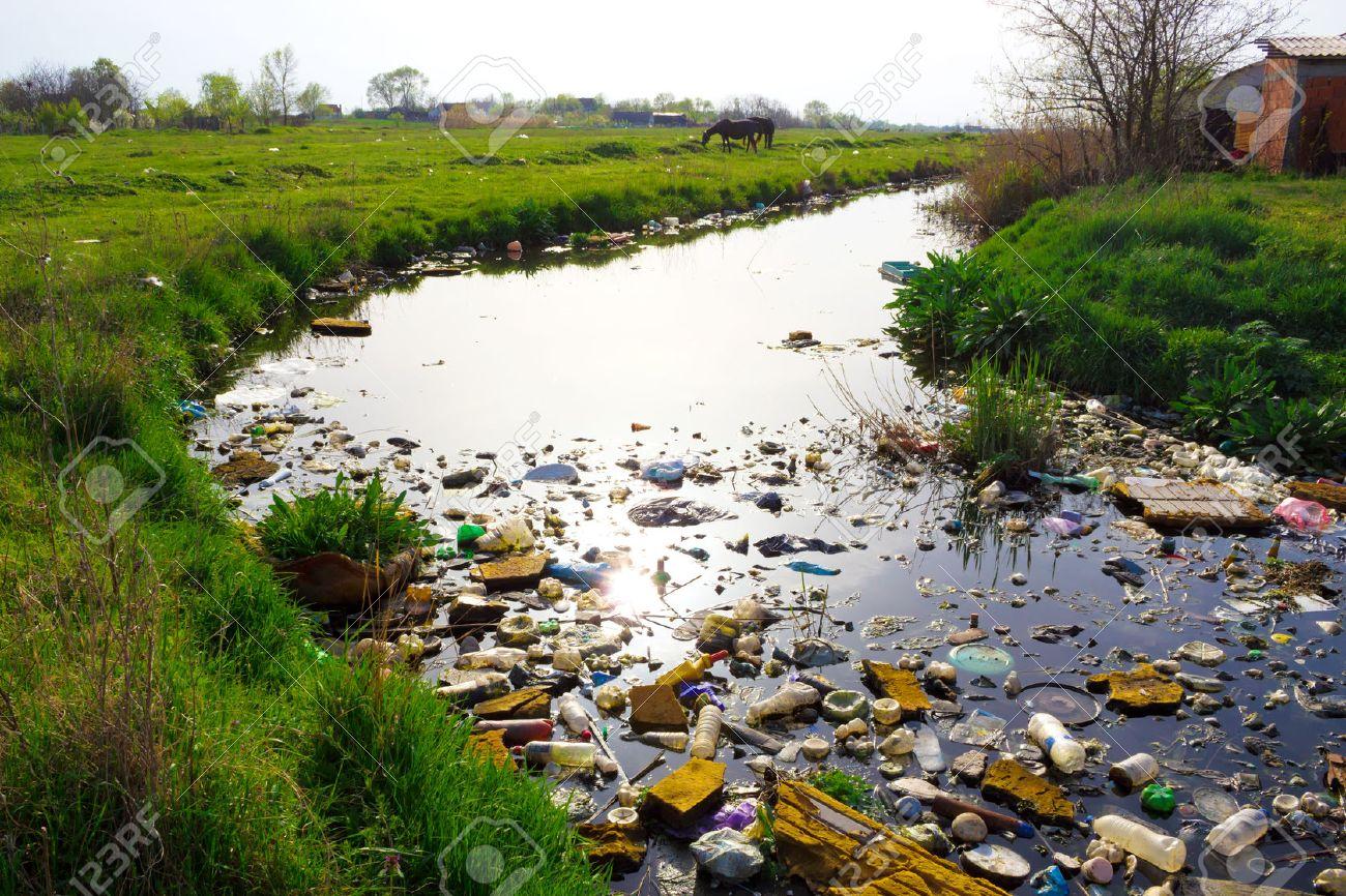 Rivière Qui Est Polluée Par Divers Déchets Et Les Ordures Les Rivières Polluées La Photographie