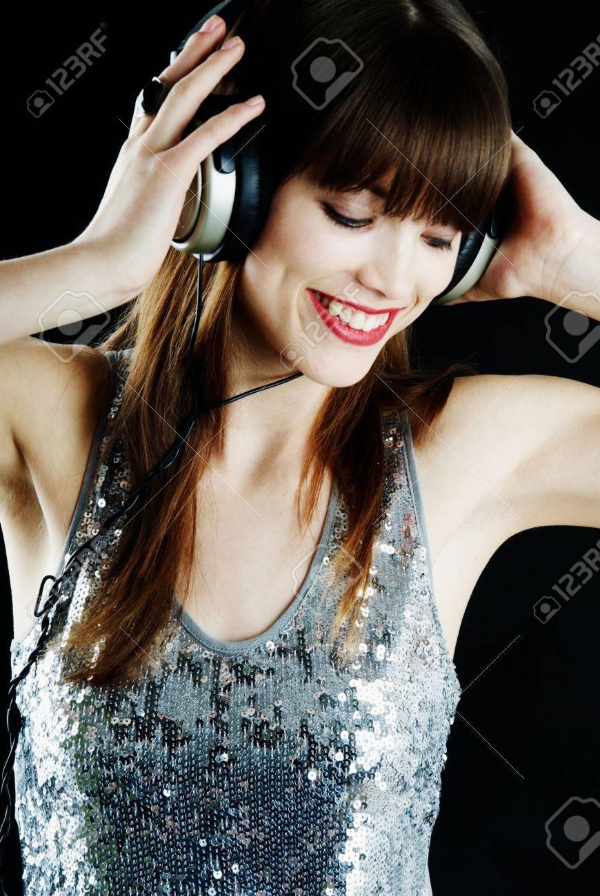 cheerful woman with headphones Stock Photo - 9068925