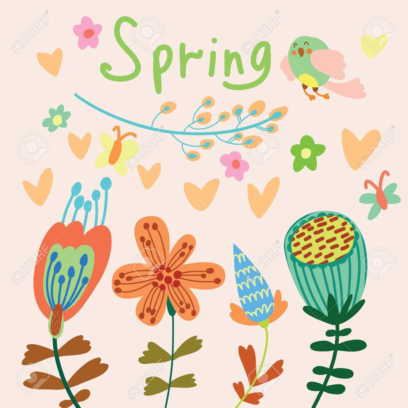 Frühlingsblumen. Cartoon Blumenhintergrund Im Vektor. Frühling ...