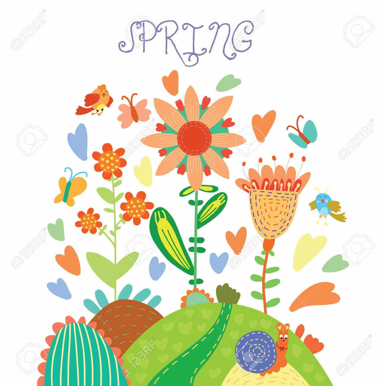Spring Flowers Cartoon Floral Background In Vector Spring Concept