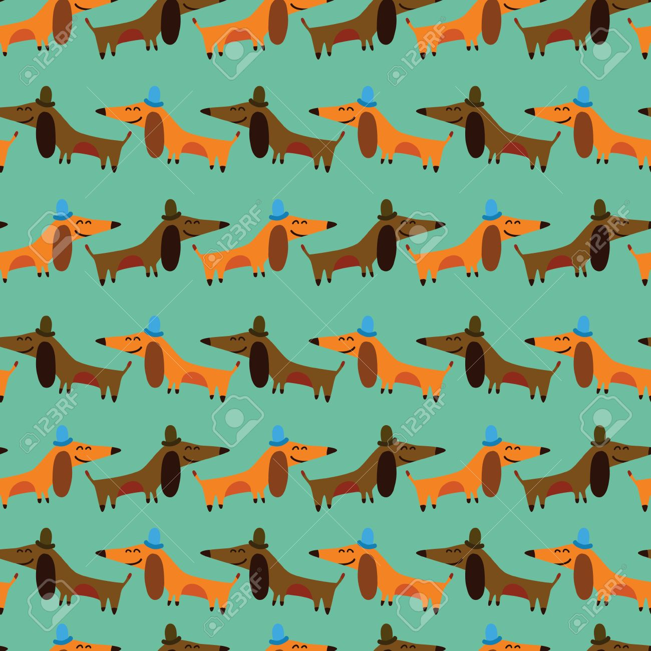 Funny Dachshunds Cartoon Seamless Pattern For Childish Designs Can Be Used Wallpaper