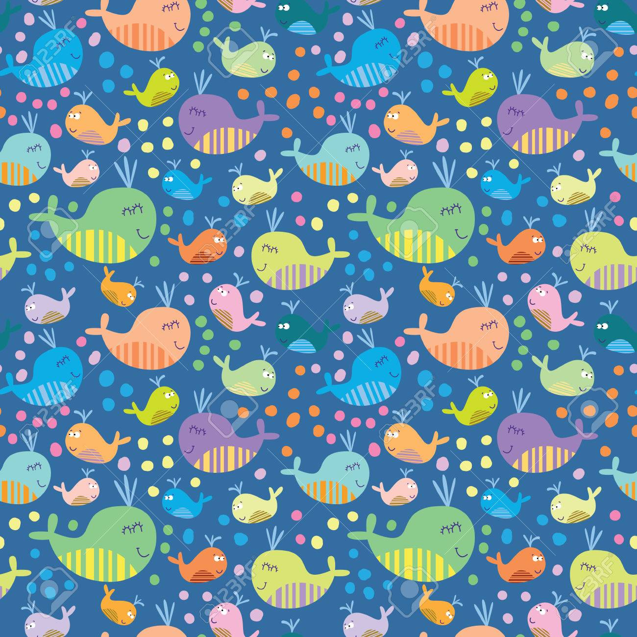 Cartoon marine seamless pattern for childish wallpapers with whales Stock Vector - 28427570