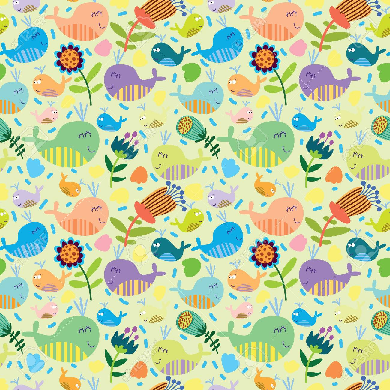 Cartoon Marine Seamless Pattern For Childish Wallpapers With ...