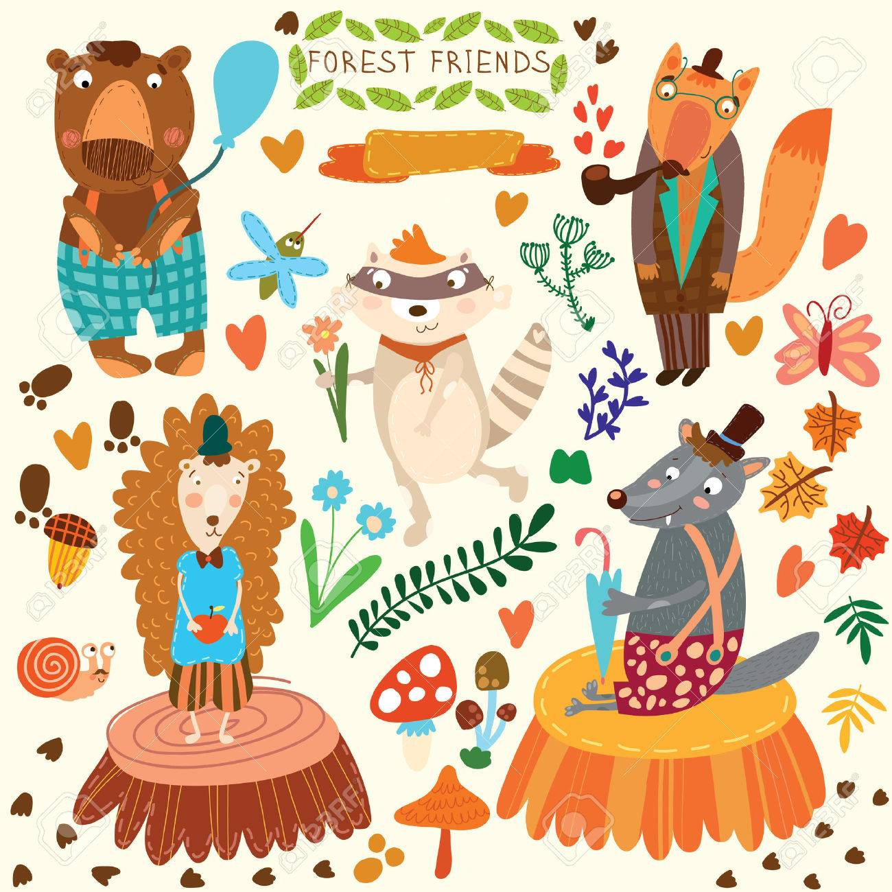 Vector Set Of Cute Woodland And Forest Animals Bear Hedgehog Fox Wolf