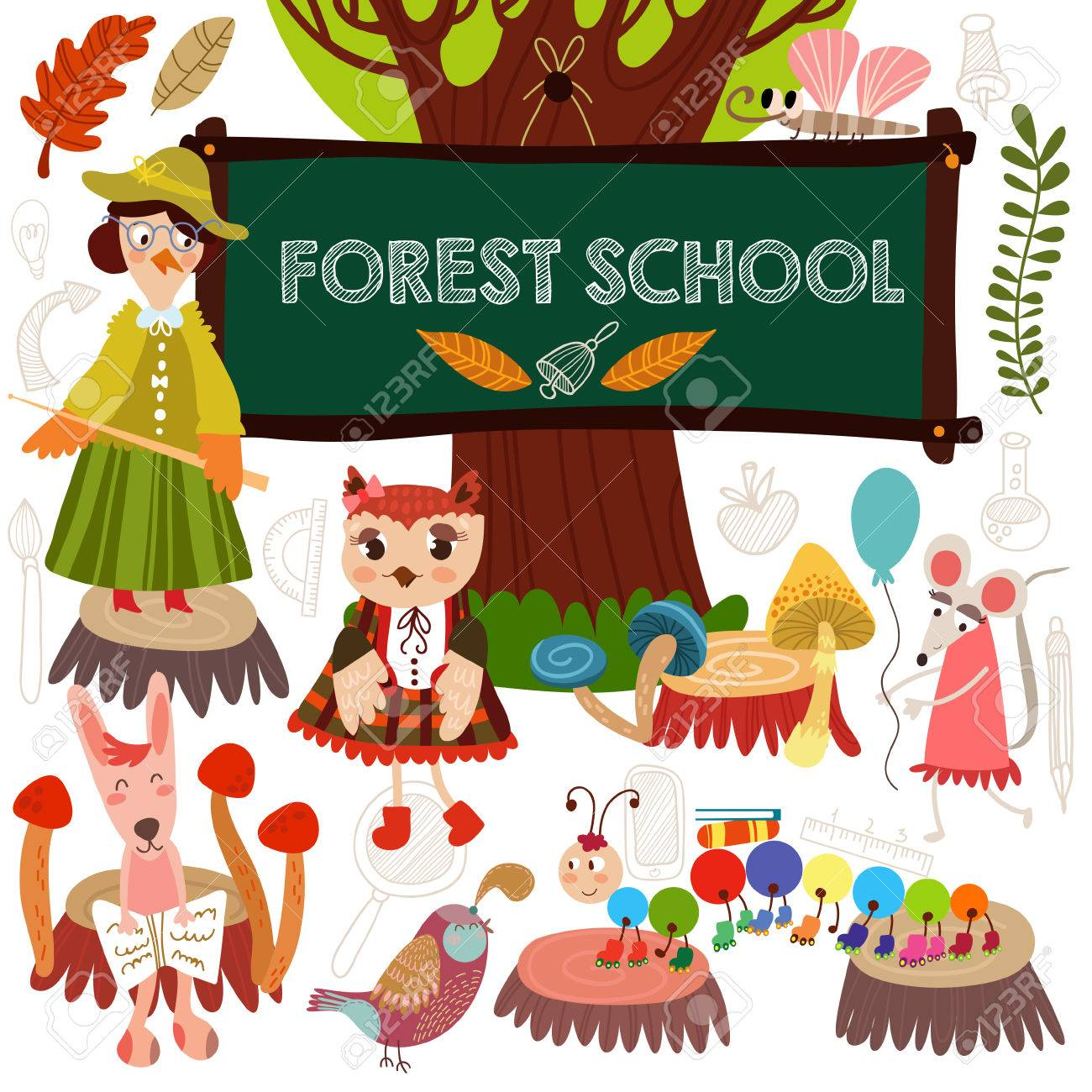 Vector Set Of Cute Woodland And Forest Animals In School Crow Fox Hare
