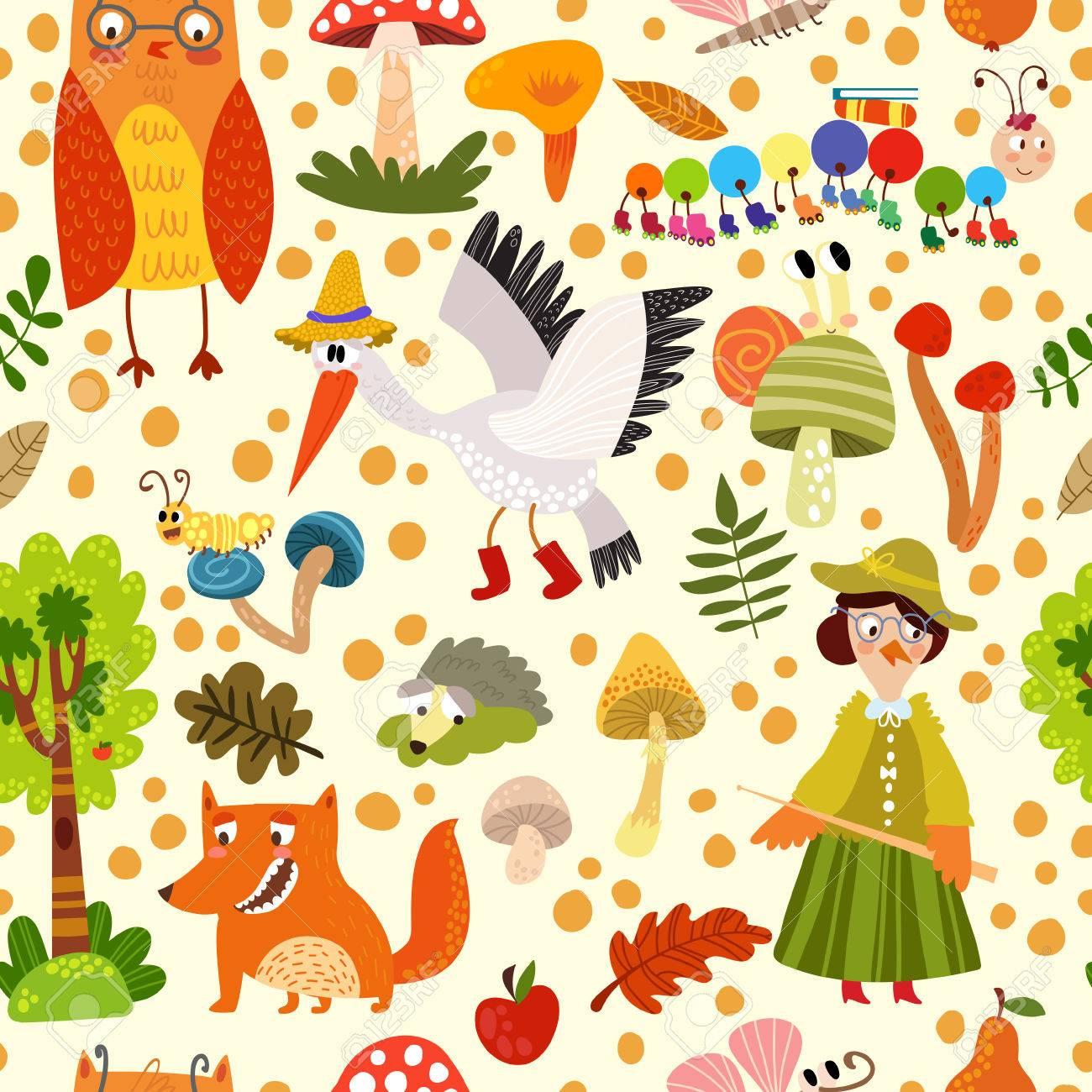 Autumn Seamless Animaux De La Foret Le Renard La Cigogne Le
