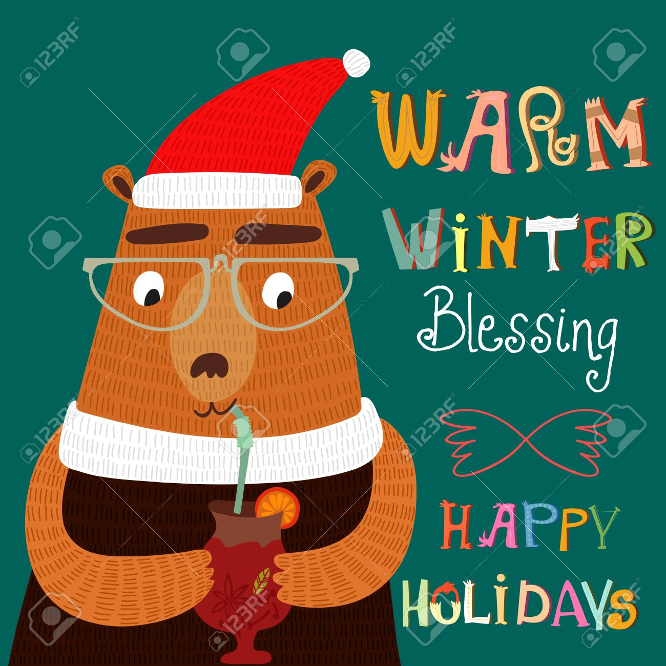 Warm Winter Blessing And Happy Holidays Card In Vector. Funny ...