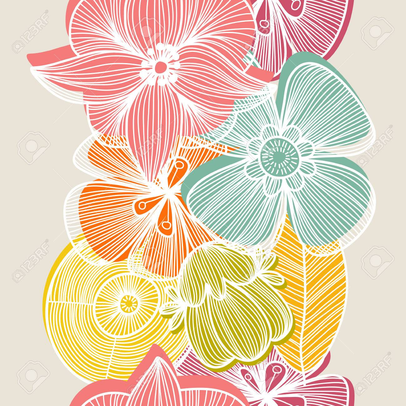 Cute Floral Seamless Pattern In Vintage ColorsBright Can Be Used For Wallpaper