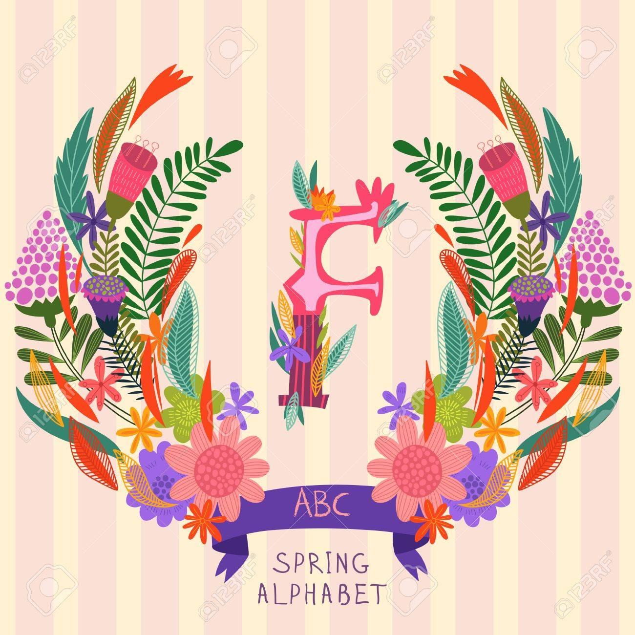 The Letter F Floral Hand Drawn Monogram Made Of Flowers And