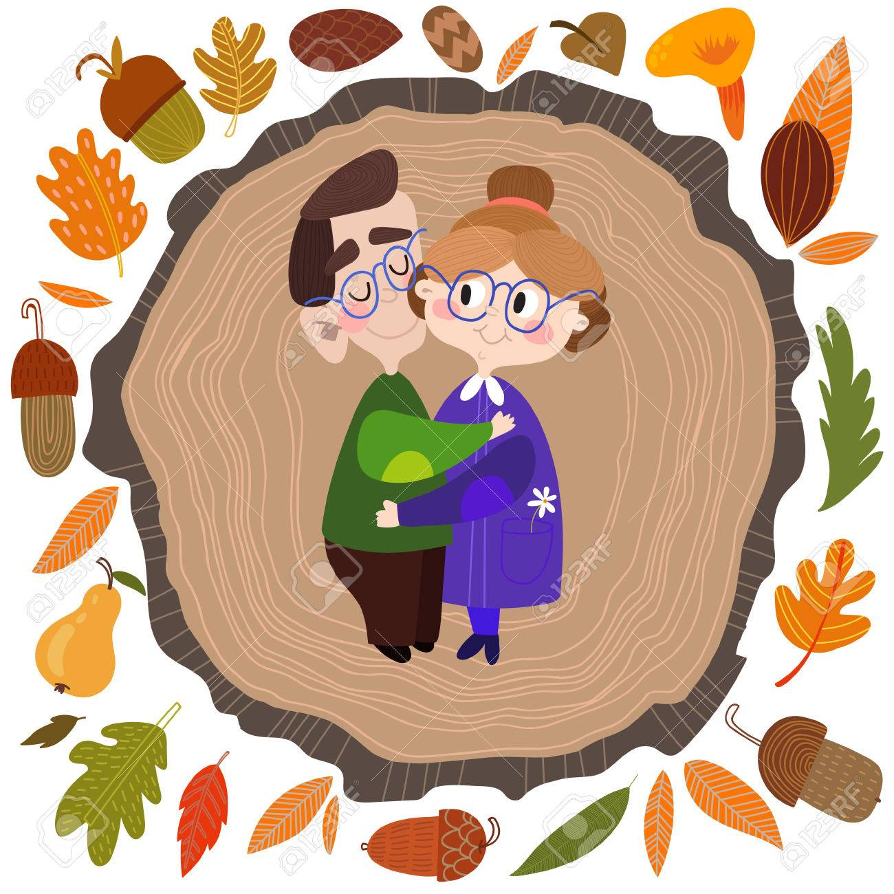 Lovely Card- Happy Grandparents Day. Vector Illustration In ...