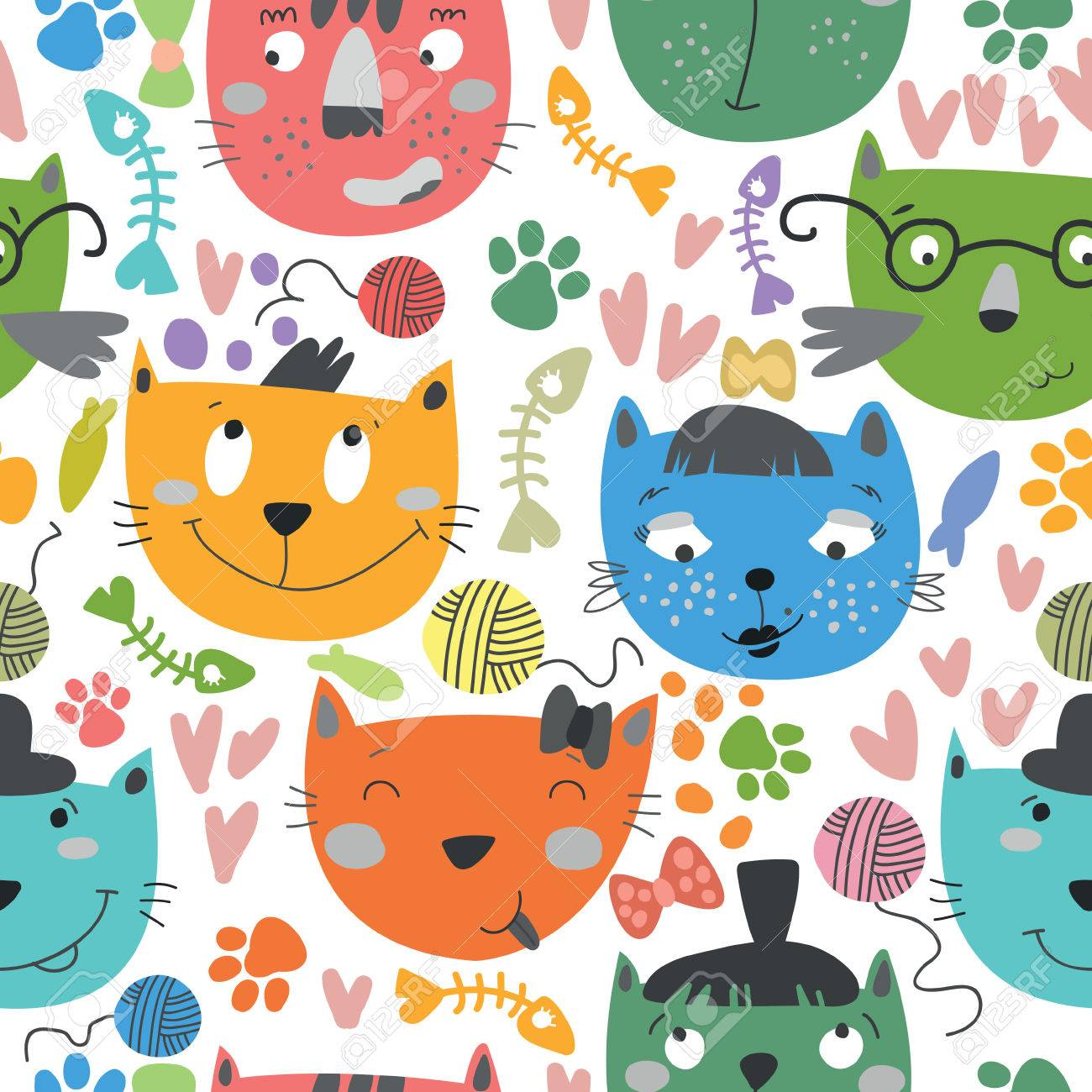 Seamless Vector Pattern With Colorful Catscartoon Background