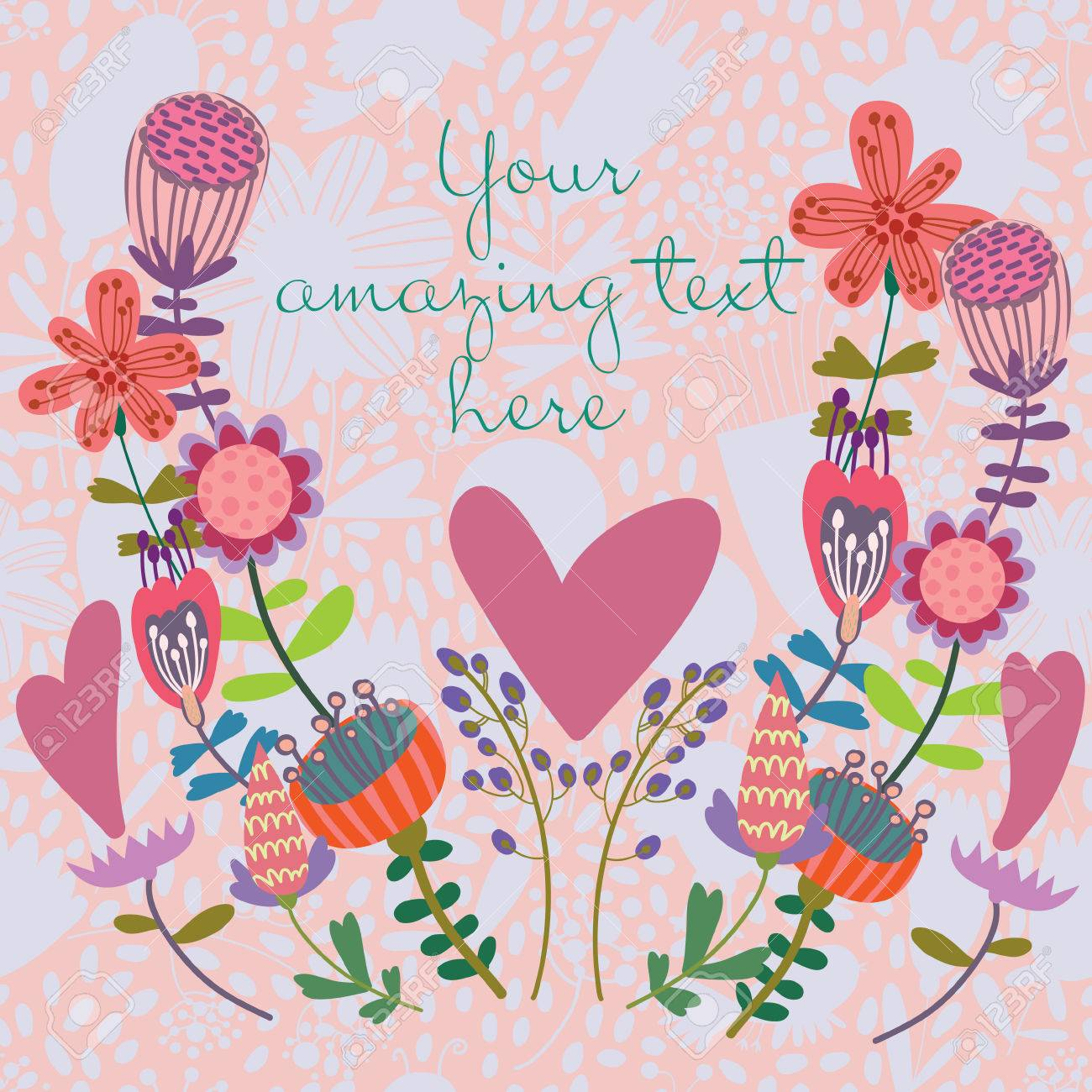 Beautiful Greeting Card With Flowers Bright Illustration Can Be Used As Creating
