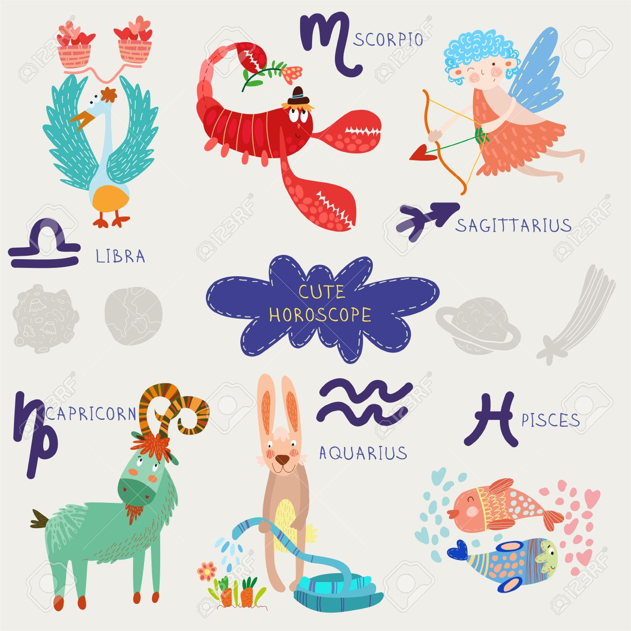 Cute Horoscope Zodiac Set Librascorpiosagittarius Capricorn Aquarius