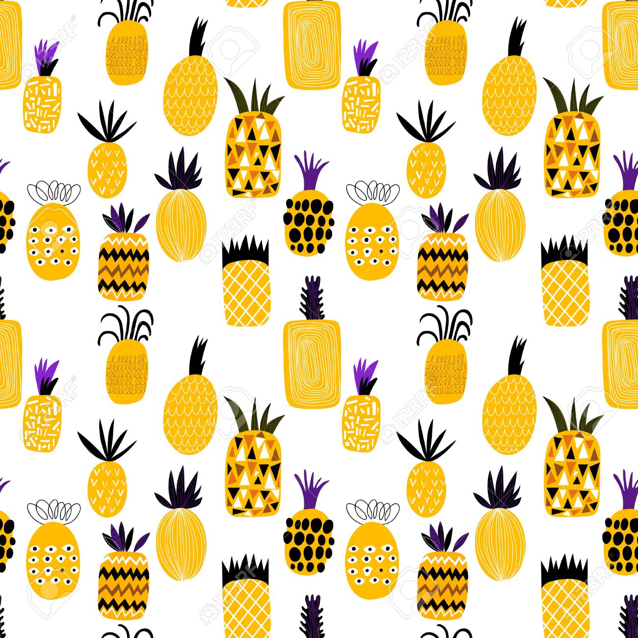 Summer pineapple fruit illustration background pattern. Seamless pattern can be used for wallpapers, pattern fills, web page backgrounds, surface textures - 54919020