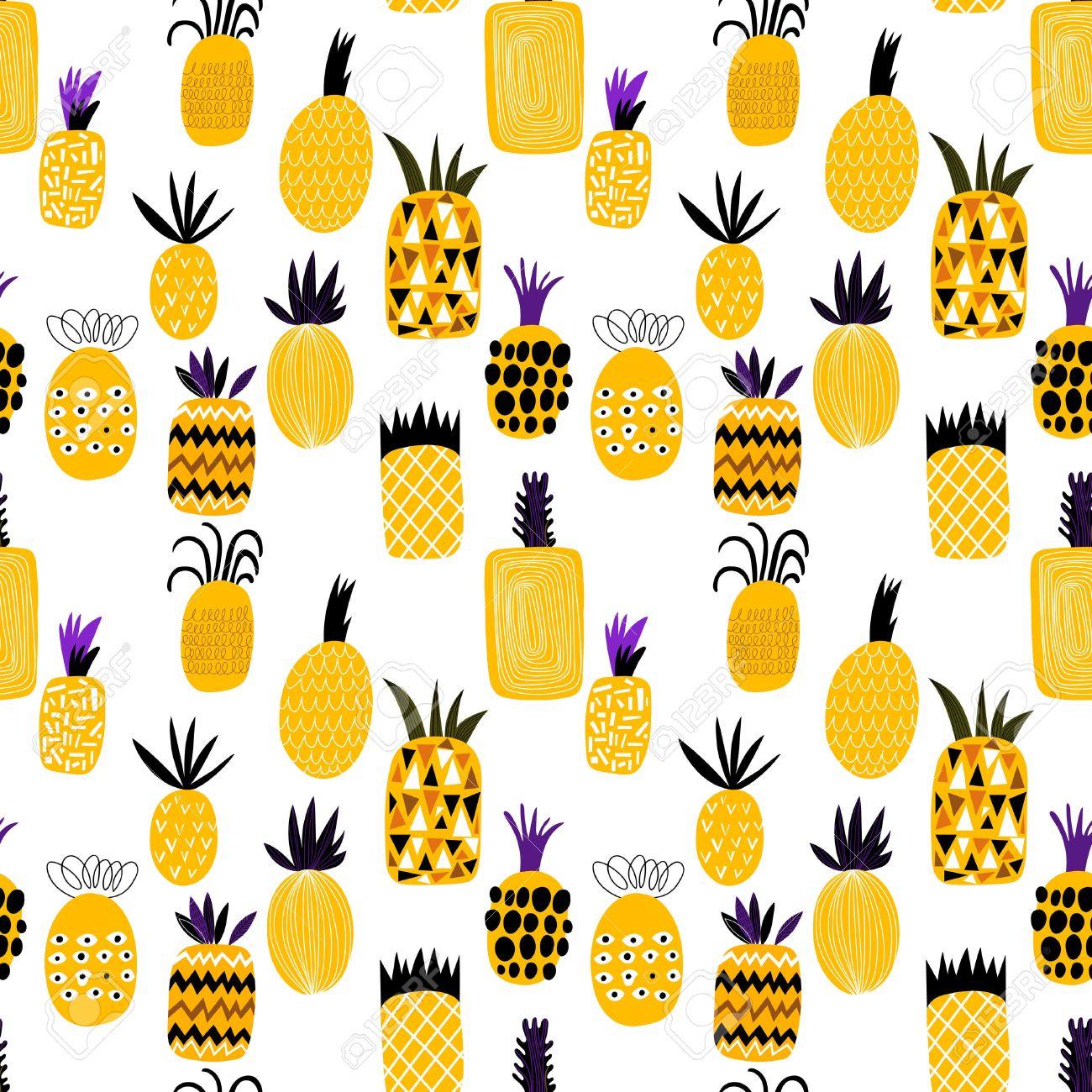 夏パイナップル フルーツ イラスト背景パターン。シームレス パターン
