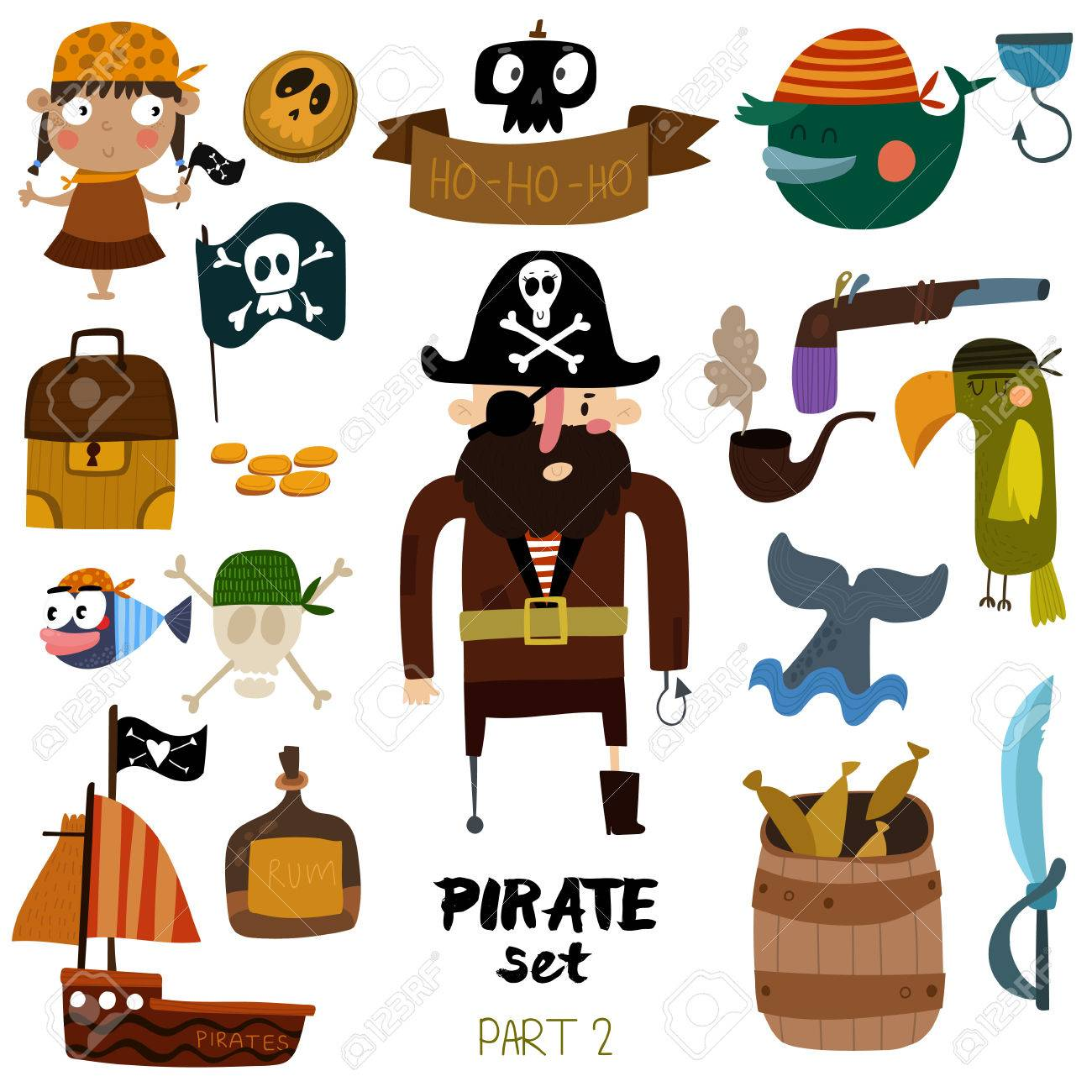 set of pirate items pirate ship skull parrot whale fish